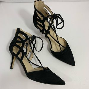 Marc Fisher Black Lace Cut out Truthe heels sz 6.5